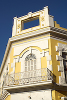 Facade of restored nineteenth century building  in Old Mazatlan, Sinaloa, Mexico                 .