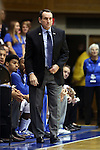 04 November 2014: Duke head coach Mike Krzyzewski. The Duke University Blue Devils hosted the Livingstone College Blue Bears at Cameron Indoor Stadium in Durham, North Carolina in an NCAA Men's Basketball exhibition game. Duke won the game 115-58.