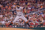 6 August 2016: San Francisco Giants pitcher Sergio Romo on the mound against the Washington Nationals at Nationals Park in Washington, DC. The Giants defeated the Nationals 7-1 to even their series at one game apiece. Mandatory Credit: Ed Wolfstein Photo *** RAW (NEF) Image File Available ***