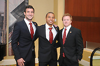 From left to right DC United midfielder Chris Pontius forward Charlie Davis and midfielder Dax McCarty, at the 2011 Season Kick off Luncheon, at the Marriott Hotel in Washington DC, Wednesday March 16 2011.