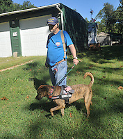 NWA Democrat-Gazette/MICHAEL WOODS &bull; @NWAMICHAELW<br /> Richard Ellett, a veteran with PTSD,  walks Tiger, his service dog around his home Saturday September 12, 2015. Tiger, a service dog,  was given to Ellett by Soldier ON,  a new non-profit that places puppies with puppy-raisers for one year to be trained as service dogs, to then be given to veterans with PTSD.
