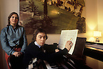 Andrew Lloyd Webber at home circa 1980 with first wife Sarah Hugill London UK