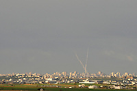 Two rockets are fired from the Gaza Strip towards southern Israel. Israeli forces began an air offensive against Hamas in Gaza on 27/12/2008, which quickly escalated into an offensive by land, sea and air, in retaliation against Palestinian rockets fired into Israel. After eight days of bombardment, leaving over 400 Palestinians and four Israelis dead, Israeli tanks entered Gaza on 04/01/2009...