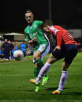 York City's Alex Whittle under pressure from Lincoln City's Joe Ward<br /> <br /> Photographer Andrew Vaughan/CameraSport<br /> <br /> The Buildbase FA Trophy Semi-Final First Leg - York City v Lincoln City - Tuesday 14th March 2017 - Bootham Crescent - York<br />  <br /> World Copyright &copy; 2017 CameraSport. All rights reserved. 43 Linden Ave. Countesthorpe. Leicester. England. LE8 5PG - Tel: +44 (0) 116 277 4147 - admin@camerasport.com - www.camerasport.com