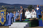 Cornish Bards dressed in blue at the annually for  Gorseth Ceremony Marazion Cornwall UK Gorseth Kernow (Cornish Gorsedd) which is a non-political Cornish organisation, which exists to maintain the national Celtic spirit of Cornwall in Britain. The Gorseth Kernow supports the revival of the Cornish language, encourages the study of the arts and history and everything Cornish.  Bardships are awarded for momentous works on Cornish culture.