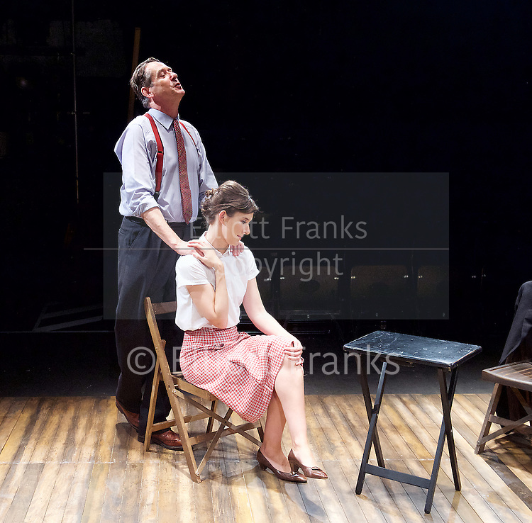 Orson&rsquo;s Shadow by Austin Pendleton<br /> at Southwark Playhouse, London, Great Britain <br /> press photocall <br /> 1st July 2015 <br /> <br /> <br /> Adrian Lukis as Laurence Olivier<br /> Louise Ford as Joan Plowright<br /> <br /> Photograph by Elliott Franks <br /> Image licensed to Elliott Franks Photography Services