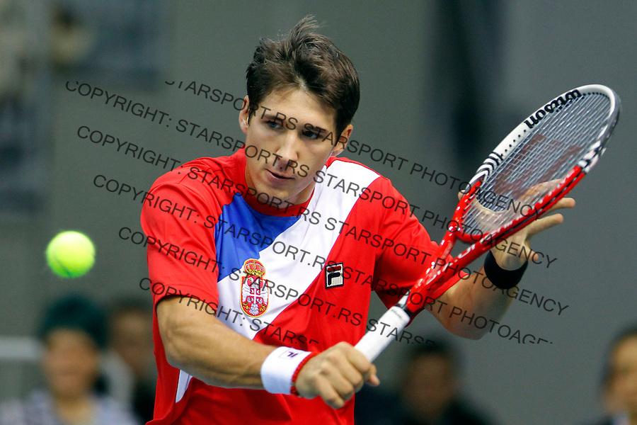 Dusan Lajovic (SRB) - Filip Prpic (SWE) Davis Cup, World Group, 1st Round, Srbia - Sweden, Nis, Serbia, Sunday, February 12, 2011.   (photo: Pedja Milosavljevic / thepedja@gmail.com / +381641260959)