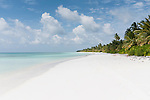 Baresdhoo Island, Laamu Atoll, Maldives; a deserted, white sand beach in the Maldives on a beautiful sunny afternoon with blue skies and puffy white clouds