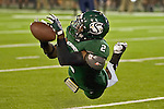 Sacramento State's, DeAndre Carter, #2 dives for a finger tip catch as Sacramento State Hornets host the Northern Arizona Lumberjacks at Hornet Stadium, Saturday Oct. Sept 29, 2011.
