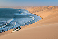Off-road vehicles in sand dunes, Sperrgebiet National Park, Namibia