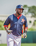 22 March 2015: Houston Astros first baseman Chris Carter rounds the bases to score during Spring Training action against the Pittsburgh Pirates at Osceola County Stadium in Kissimmee, Florida. The Astros defeated the Pirates 14-2 in Grapefruit League play. Mandatory Credit: Ed Wolfstein Photo *** RAW (NEF) Image File Available ***