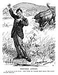"Trouble Astern. Mr de Valera (to the world). ""Only over my fallen body shall the Saxon tyrant prevail."" (an InterWar cartoon shows Eamon de Valera making a speech as a large Irish Agriculture bull charges behind him)"