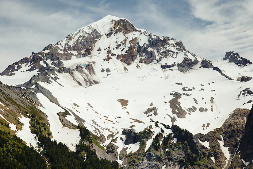 View of Sandy Glacier on Mt Hood where the Snow Dragon and Pure Imagination caves are located.