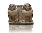 Late Hittite (Aramaean)  Basalt Double Sphinx  sculpture from 9th Cent B.C, excavated from the entrance of Palace III Sam'al (Hittite: Yadiya) located at Zincirli H&ouml;y&uuml;k in the Anti-Taurus Mountains of modern Turkey's Gaziantep Province. Istanbul Archaeological Museum Inv. No 7731.
