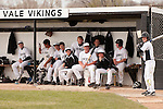 Vikings in the dugout (L to R) Austin Dayton, Derrek Rodriguez, Branden Holloway, Josh Morcom, Ryan Tucke, Brady Sharp, Cory Erstrom, Seve Yraguen, Luke Tackman, Austin Tolman, and Kyle Barras on April 28, 2011.