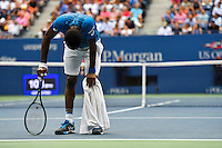NEW YORK, USA - SEPT 09, Gael Monfils of France reacts after losing a point against  Novak Djokovic of Serbia during their Men's Singles Semifinal Match of the 2016 US Open at the USTA Billie Jean King National Tennis Center on September 9, 2016 in New York.  photo by VIEWpress