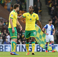 Norwich City's Cameron Jerome (right) talks to Yanic Wildschut after making it 2-2<br /> <br /> Photographer David Shipman/CameraSport<br /> <br /> The EFL Sky Bet Championship - Norwich City v Blackburn Rovers - Saturday 11th March 2017 - Carrow Road - Norwich<br /> <br /> World Copyright &copy; 2017 CameraSport. All rights reserved. 43 Linden Ave. Countesthorpe. Leicester. England. LE8 5PG - Tel: +44 (0) 116 277 4147 - admin@camerasport.com - www.camerasport.com
