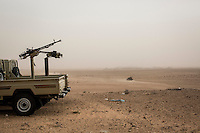 Friday 20, May 2016: MIlitary vehicles of Libyan fighters are seen deployed at the fronline in Abugrein during the ongoing fighting against IS (iSlamic State) in Libya.