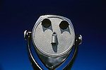 Coin operated binocular with clear blue sky Seattle Washingotn State USA