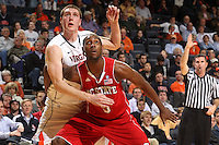 March 1, 2011 - Charlottesville, Virginia-USA; North Carolina State Wolfpack forward C.J. Leslie (5) and Virginia Cavaliers forward Will Sherrill (22) look for the rebound during an NCAA basketball game at the John Paul Johns arena. Virginia won 69-58. Photo/Andrew Shurtleff (Credit Image: © Andrew Shurtleff/ZUMApress.com)