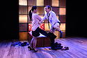 """London, UK. 22.03.2017. """"CHINGLISH, by David Henry Hwang, opens at the Park Theatre. Directed by Andrew Keates, with lighting design by Christopher Nairne and set and costume design by Tim McQuillen-Wright. Picture shows:  Candy Ma (Xi Yan), Gyuri Sarossy (Daniel). Photograph © Jane Hobson."""