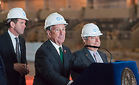 NYC Mayor Michael Bloomberg speaks at a news conference in the under construction Barclays Center in Brooklyn in New York Thursday, April 26, 2012. The new stadium for the Nets basketball team is scheduled to open in September 2012. Bloomberg along with other politicians and executives from the builder Forest City Ratner Companies announced that the new arena will fill positions for 2000 jobseekers and will soon hold hiring fairs in conjunction with the city's Workforce1 job centers. (© Richard B. Levine)