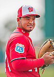5 March 2016: Washington Nationals catcher Raudy Read warms up prior to a Spring Training pre-season game against the Detroit Tigers at Space Coast Stadium in Viera, Florida. The Nationals defeated the Tigers 8-4 in Grapefruit League play. Mandatory Credit: Ed Wolfstein Photo *** RAW (NEF) Image File Available ***