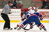 Marty Hughes, Alex Fallstrom (Harvard - 16), Joseph Pendenza (UML - 14) - The visiting University of Massachusetts Lowell River Hawks defeated the Harvard University Crimson 5-0 on Monday, December 10, 2012, at Bright Hockey Center in Cambridge, Massachusetts.