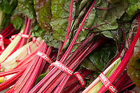 Bunches of red and white-stem organic chard at a farmers market.