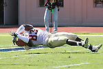 14 October 2006: Florida State's Lawrence Timmons dives into the endzone for a touchdown after returning a fumble 36 yards in the first quarter. The Florida State University Seminoles defeated the Duke University Blue Devils 51-24 at Wallace Wade Stadium in Durham, North Carolina in an Atlantic Coast Conference NCAA Division I College Football game.