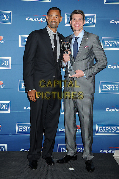 Juwan Howard, Mike Miller.2012 ESPY Awards - Press Room held at Nokia Theatre L.A. Live, Los Angeles, California, USA..July 11th, 2012.full length grey gray suit black award trophy winner .CAP/ADM/BP.©Byron Purvis/AdMedia/Capital Pictures.