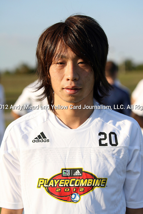 06 January 2012: Kohei Yamada (JPN). The 2012 MLS Player Combine was held on the cricket oval at Central Broward Regional Park in Lauderhill, Florida.