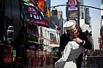 People disguised as a US marine and a nurse kiss each other at Times Square in New York, United States. 5/4/2012.  Photo by Eduardo Munoz Alvarez / VIEWpress.