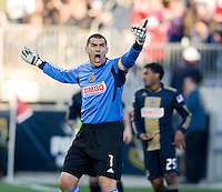 Faryd Mondragon (1) of the Philadelphia Union disputes a call by the referee during the game at PPL Park in Chester, PA.  Houston defeated Philadelphia, 2-1, to take home the one goal advantage in the home and home series..