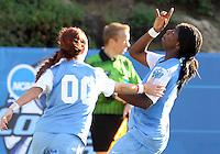 SAN DIEGO, CA - DECEMBER 02, 2012:  Satura Murray (44) and Alyssa Rich (00) of the University of North Carolina during the NCAA 2012 women's college championship match, at Torero Stadium, in San Diego, CA, on Sunday, December 02 2012. Carolina won 4-1.