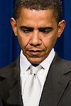 Senator Barack Obama (D-IL) at a news conference in Washington, DC, to announce plans to increase America's energy independence by promoting renewable energy on Thursday, Jan. 25, 2007.
