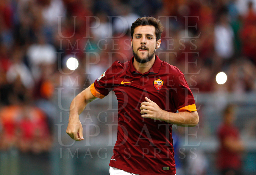 Calcio, amichevole Roma vs Fenerbahce. Roma, stadio Olimpico, 19 agosto 2014.<br /> Roma forward Mattia Destro arrives for the team's presentation, prior to the friendly match between AS Roma and Fenerbahce at Rome's Olympic stadium, 19 August 2014.<br /> UPDATE IMAGES PRESS/Riccardo De Luca
