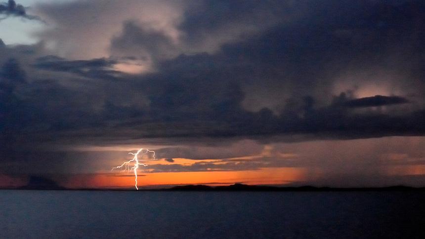 Lightning near the ireland Lovund, Helgeland, Norway