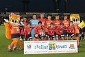 Omiya Ardija team group line-up,.APRIL 21, 2012 - Football / Soccer :.Omiya Ardija players (Top row - L to R) Carlinhos, Takashi Kitano, Rafael, Kim Young Gwon, Kosuke Kikuchi, Takuya Aoki, (Bottom row - L to R) Daigo Watanabe, Shusuke Tsubouchi, Keigo Higashi, Takumi Shimohira and Cho Young Cheol pose for a team photo with the club mascots &quot;Ardi&quot;(R) and &quot;Miya&quot;(L) before the 2012 J.League Division 1 match between Omiya Ardija 2-0 Urawa Red Diamonds at NACK5 Stadium Omiya in Saitama, Japan. (Photo by Hiroyuki Sato/AFLO)