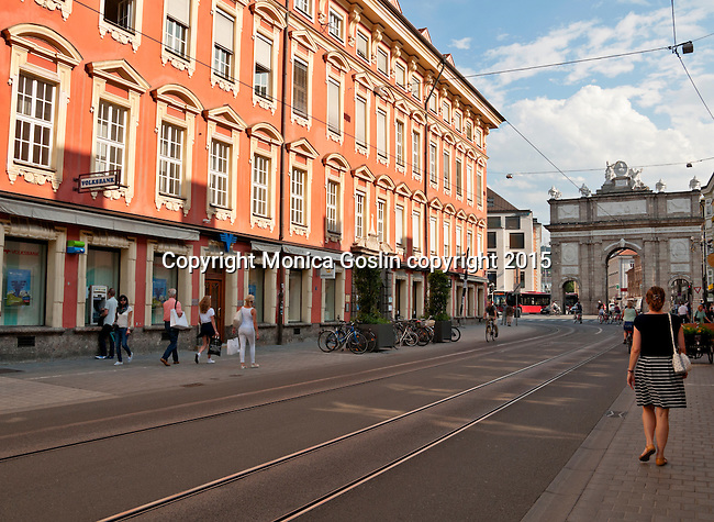 Looking down Maria Thereisen-StraBe street in Old Town with the Triumphal Arch (Triumphforte) in the background