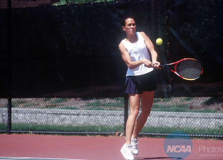 10 May 1999:  Inke Noel of  Skidmore College slams the ball across the net during the Division 3 Women's Tennis Championship held at the College of New Jersey in Trenton, NJ.  Noel and her partner Lisa Powers defeated Lola Taylor and Lizzie Yasser of Trinity University 6-4, 6-3 for the doubles championship title. Douglas Benedict/NCAA Photos.