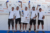 Mathieu Richard and his French Match Racing team after finishing third at Match Race Germany 2010. World Match Racing Tour. Langenargen, Germany. 24 May 2010. Photo: Gareth Cooke/Subzero Images/WMRT