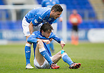 St Johnstone v Inverness Caley Thistle...02.05.15   SPFL<br /> Gary Miller helps a grounded Murray Davidson to his feet<br /> Picture by Graeme Hart.<br /> Copyright Perthshire Picture Agency<br /> Tel: 01738 623350  Mobile: 07990 594431