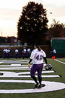 The Dallas Diamonds' Jessica Springer during warm-ups before a game against the Houston Energy in the Women's Professional Football League championship at Roswell High School. Springer is both a fullback and a linebacker.<br />