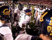 Michael Lowe of California gives a speech to his teammates before the game against Utah at Rice-Eccles Stadium in Salt Lake City, Utah on October 27th, 2012.   Utah Utes defeated California, 49-27.