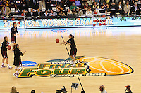6 April 2008: Stanford Cardinal Morgan Clyburn, Kayla Pedersen, Jayne Appel, and Ashley Cimino during Stanford's 82-73 win against the Connecticut Huskies in the 2008 NCAA Division I Women's Basketball Final Four semifinal game at the St. Pete Times Forum Arena in Tampa Bay, FL.