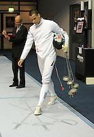 """European Championships Fencing 2010 / Fecht Europameisterschaft 2010 in Leipzig - Competition Championat d'europe - im Bild: Auch er musste """"Fechten fühlen"""" - Jörg Fiedler (GER, Tauberbischofsheim) scheidet im Herren Degen früh aus  . Foto: Norman Rembarz..Norman Rembarz , Autorennummer 41043728 , Augustenstr. 2, 04317 Leipzig, Tel.: 01794887569, Hypovereinsbank: BLZ: 86020086, KN: 357889472, St.Nr.: 231/261/06432 - Jegliche kommerzielle Nutzung ist honorar- und mehrwertsteuerpflichtig! Persönlichkeitsrechte sind zu wahren. Es wird keine Haftung übernommen bei Verletzung von Rechten Dritter. Autoren-Nennung gem. §13 UrhGes. wird verlangt. Weitergabe an Dritte nur nach  vorheriger Absprache.."""
