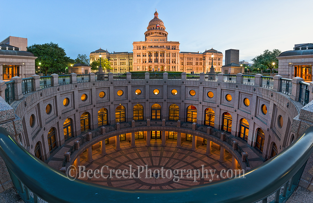 This is a vertical and horizon panorama of the Texas State Capitol at dusk.  With this we are able to capture all the levels below ground all the way down to the star in the Rotundra to the Capitol itself.