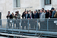 Graziano Delrio(C), Minister of Infrastructure, during the presentation of the new services plate.<br /> Presented the new services plate to Rome's Termini railway station, new surfaces for 6,500 square meters. Of which 4,550 dedicated to food &amp; beverage and logistics. Approximately 870 tons of steel and 1,000 cubic meters of concrete. For a total investment of 125 million euro. Rome, Italy. 23th February  2016