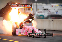 Oct. 1, 2011; Mohnton, PA, USA: NHRA top fuel dragster driver Terry McMillen blows an engine on fire after a stuck throttle during qualifying for the Auto Plus Nationals at Maple Grove Raceway. Mandatory Credit: Mark J. Rebilas-